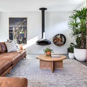 house with suspended fireplace